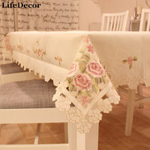 Fashion satin embroidery fabric table cloth round table cloth dining table cloth