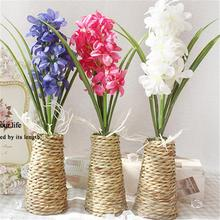 Free Shipping  Artificial Flowers + Woven rope Vase set 3 colors silk flower Home table decorations for wedding