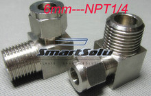 free shipping  2pc/lots for 6mm-NPT1/4  stainless steel elbow compression fittings stainless steel elbow connectors