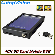 4Ch 3G GPS SD Card Mobile DVR Bus Truck  car dvr recorder with 4pcs camera