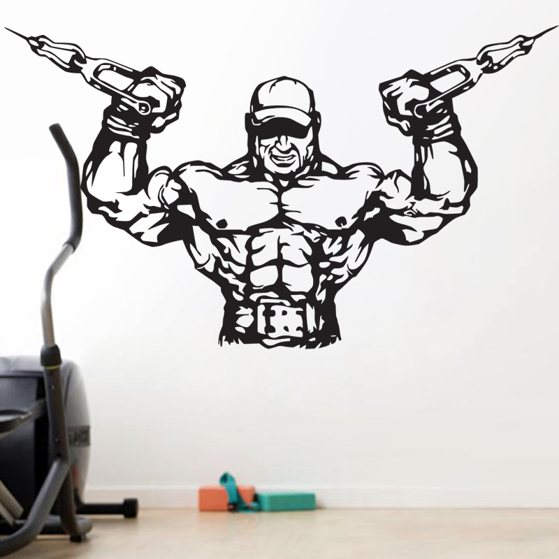 Gym Sticker Fitness Decal Bodybuilding Barbell Posters Name Muscle Vinyl Wall Parede Decor 19 Color Choose Gym Sticker