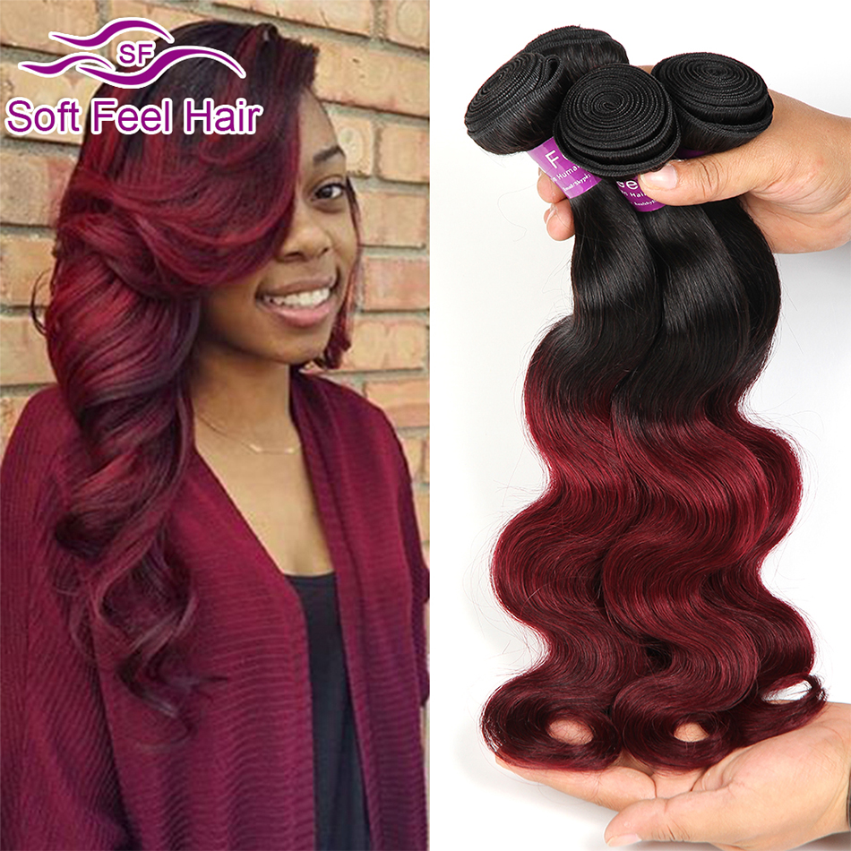 Burgundy Brazilian Hair Two Tone Brazilian Virgin Hair Body Wave 4 Bundles Red Ombre Brazilian Hair Weave Bundles 99J Human Hair<br><br>Aliexpress