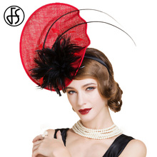 FS Lady Vintage Red Pillbox Hat For Women Wedding Dresses Summer Evening Fedora Chapeau Mariage Kentucky Derby Hats(China)