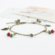 12 Pieces/Lot Hollow Leaves Bell Anklet Straps For Women Jewelry Tassel Ceramic Beads Pendant Leg Long Chains Fashion Accessory