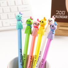Kawaii New 3D Sunny Doll design Black Gel Ink Pencils Pencils Waterpapers Primary School Stationery Gel pen 12pcs/lot
