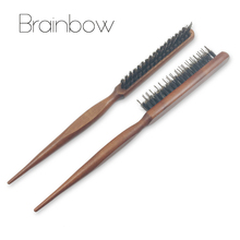 Brainbow 1piece Hair Brush Wood Handle Fluffy Bristle Comb Dish Hairdressing Hairstyle Barber Scalp Massage Hair Styling Tools(China)
