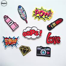 1 PCS Pink Girls parches Embroidered Iron on Patches for Clothing DIY Stripes Clothes Letter Stickers Custom Badges @H