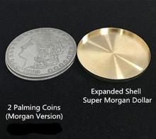 Expanded Shell +2 Palming coins Magic Set Coin Appearing Tricks Coin Magic 3.8cm,Close Up,Illusion,Fun