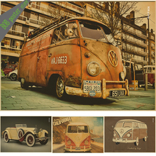 Volkswagen Car VW  classic cars Vintage Poster kraftpaper VW Type Mini Bus posters wall stickers home decor retro car poster