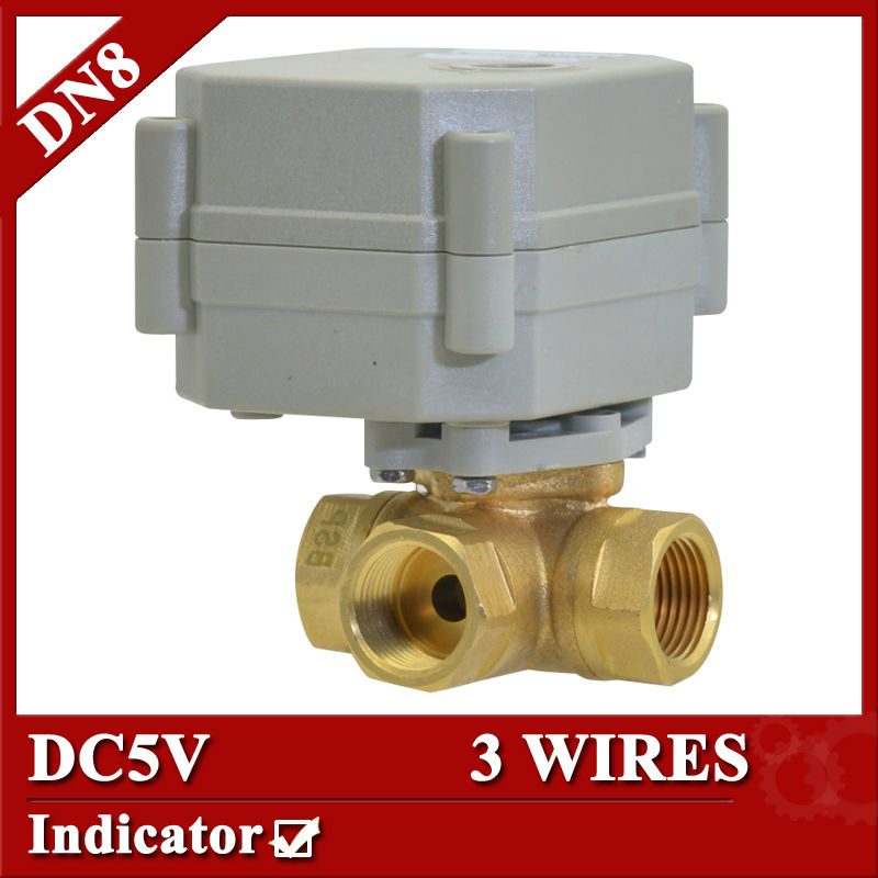1/4 DC5V 3 wires electric valve, DN8 3 Way Horizontal type Valve, motorized valve with position indicator<br><br>Aliexpress