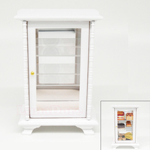 Odoria 1:12 Miniature White Cabinet with Mirror Showcase Closet Cabinet Shelving Dollhouse Furniture Accessories(China)