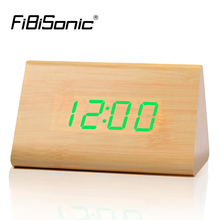 FiBiSonic New Triangle Red Led Alarm clocks,Wood clock ,sounds control Table Clock,Big numbers Digital Clocks(China)