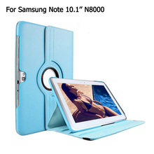 "Filp Case For Samsung Galaxy Note 10.1"" icnh N8000 360 Rotating Stand PU leather Smart Sleep Wake Up cover"
