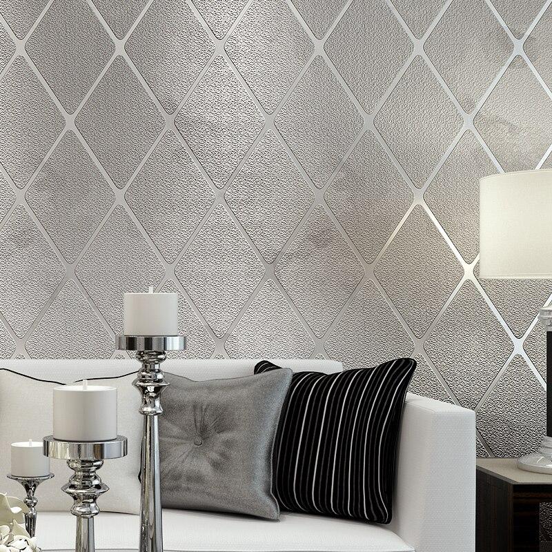 Papel De Parede 3D Wallpaper Modern Simple Diamond Stripes Non-Woven Wood Fiber Wallpaper Living Room TV Sofa Bedroom Home Decor<br>
