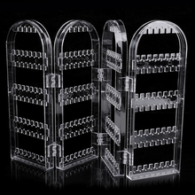 Transparent Multifunctional Plastic Folding Screen Earring Jewelry Display Stand Holder Rack Storage Box Jewelry