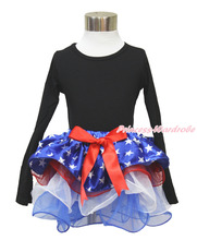4th July Plain Black Long Sleeves Pettitop Patriotic Star Red White Petal Pettiskirt NB-8Year MAMH226