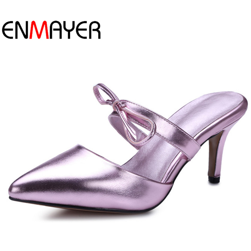 ENMAYER Summer Leisure Pointed Toe Pumps Women Thin Heels Shoes Women Slingbacks Pumps Slip-on Sandals Party Shoes for Women<br>