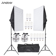 Andoer Photo Video Equipment Photography Studio Product Light Lighting Tent Kit with Softbox Light Socket 45W Bulb Tripod Stand(China)