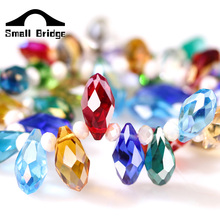 Mala Hole Waterdrop Austria AAA Crystal Beads 6*12MM 50pcs Pretty Shiny Teardrop Glass Beads Briolette For Jewelry Making DIY