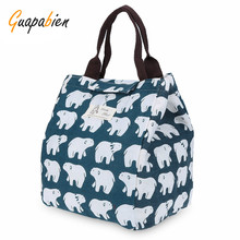Guapabien New Lunch Bag Women's Soft Handbags Canvas Bear Print Heat Preservation Cold Insulation Water Resistant Lunch Handbag