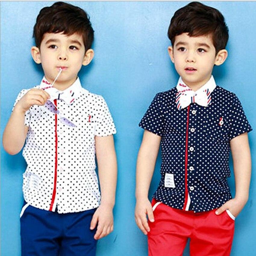 2017 Summer Children Sets Fashion Bow Cotton Dot Boys Clothes Set  Short Sleeve Shirt + Shorts Boys Clothing Sets<br><br>Aliexpress