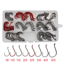 160pcs 7384 High Carbon Steel Fishing Hooks Black Red Offset Sport Circle Bait Fishhooks Carp Fishing Accessories Set With Box
