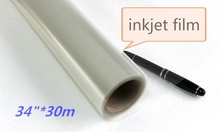 34in*30m PET Transparent inkjet plate making film for screen printing size customized 86cm wide roll