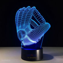 3D Baseball Gloves Visual Light Boston Red Sox/Yankees 7 Colors in One Atmosphere Night Light Touch & Remote Lamp Gift for Kids