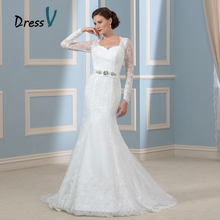 Gorgeous Long Sleeves Mermaid Wedding Dresses 2017 Lace Applique Keyhole Back Vintage Bridal Gowns Plus Size Brand Bride Dress(China)