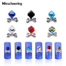 Glitter Glass Square Cube Beads Bows Crystal AB Rhinestone Nail Decorations 10pcs/pack 3d Nail Art Jewelry DIY Nail Accessories(China)