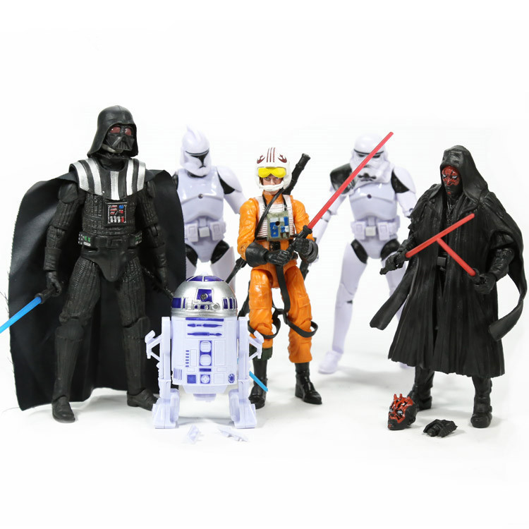 Star Wars Stormtrooper Darth Vader R2D2 PVC Action Figures Collectible Model Toys 6pcs/set SWFG061<br><br>Aliexpress