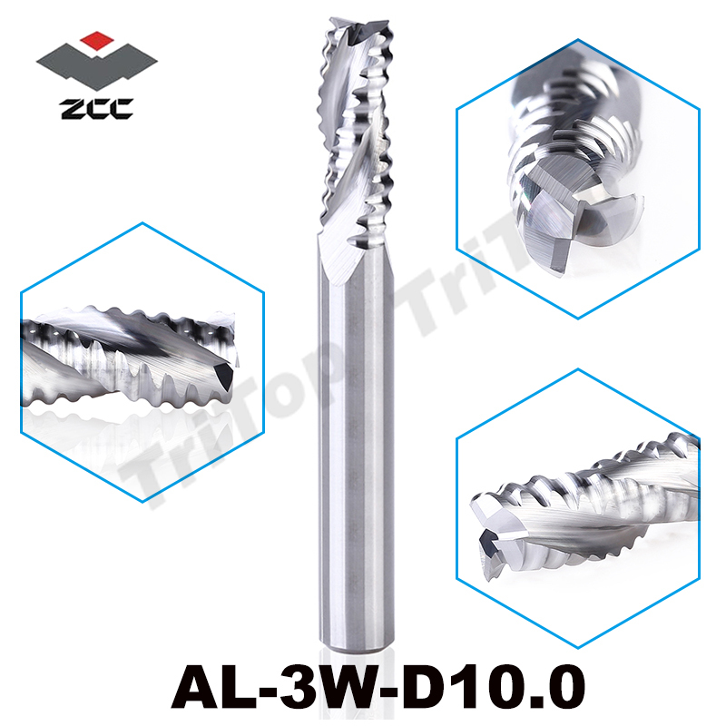 rough machining ZCCCT AL-3W-D10.0 solid carbide 3 flute flattened end mill 10mm straight shank and corrugated edges<br>