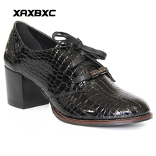 Buy XAXBXC Retro British Style Leather Brogues Oxfords High Heels Women Shoes Shallow Lace Thick Heel Handmade Casual Lady Shoes for $40.92 in AliExpress store