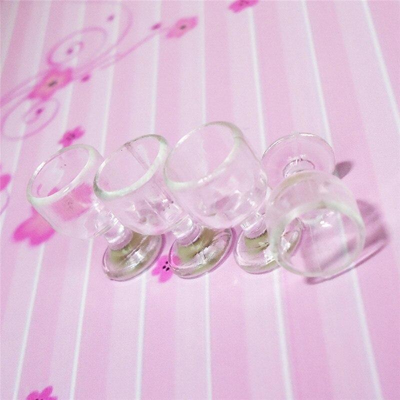 1:12 Scale Plastic 4Pcs Transparent Goblet Miniature Mini Wine Cup Dollhouse Craft Home Decoration Glass Model Plastic DIY Parts 8