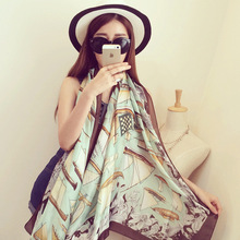 2016 new The high quality new sunscreen female scarf pattern printed scarves sailing satin silk shawl wholesale price free ship