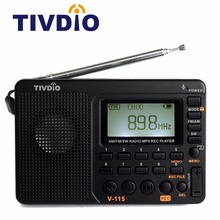 TIVDIO V-115 FM/AM/SW Radio Receiver Bass Sound MP3 Player REC Recorder Portable Radio with Sleep Timer F9205A(China)