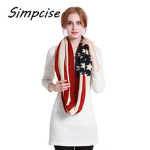[Simpcise] Winter Chunk Warm Loop Scarves US flag Pattern Acrylic Circle Scarves Man Woman Neck Accessory A3A14846(China)