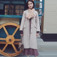 P.TREE love gentle wind heavy embroidery herringbone coat with the same paragraph(China)