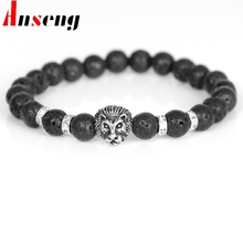 Anseng Brand Strand Lava Rock Stone Energy Beaded Charm Bracelets For Men Vintage Animal Lion Head Beads Bracelets Male Jewelry