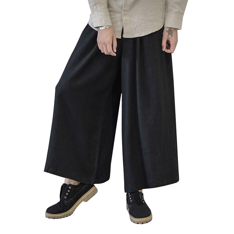 New Men Wide Leg Trousers Linen Male Fashion Casual Harem Pant Japan Style Comfortable Skirt Pant