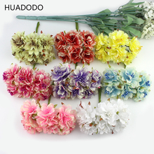 HUADODO 6pcs 4cm Artificial carnation flowers Stamen silk flower bouquet for wedding decoration DIY Scrapbooking Fake Flower