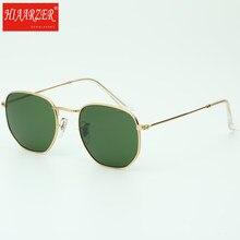 e11eb246792a3 Lente de vidro hexagonal de metal Retro rodada óculos de sol das mulheres  dos homens de luxo da marca óculos de sol Do Vintage Ó..