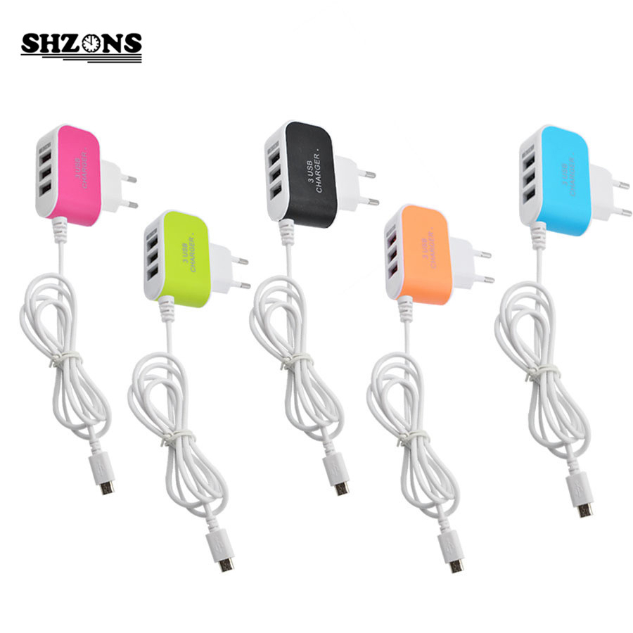 5V 3.1A EU Plug USB Charger 3USB Candy Color Glow Charger Travel Charger for Android Phone Charger with Micro USB Cable(China)
