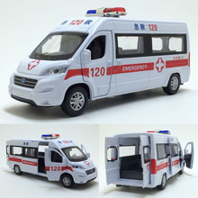 High quality high simulation 1:32 alloy pull back car,Ford ambulance 4 open door metal model cars toy,free shipping(China)