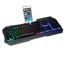 Gamer Keyboards with Mobile Phone Support Wired USB Colorful Backlit Metal Heavy Gaming Keyboard For LOL CF