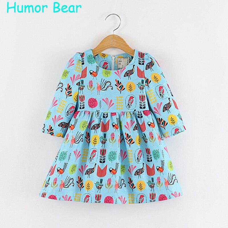 Humor Bear Baby Autumn Cartoon Casual Style flowers Bird Girls Dress Kids Clothes Girls Clothes Children Dress Princess <br><br>Aliexpress