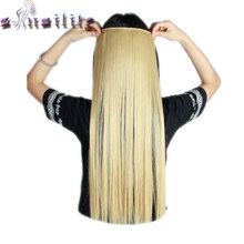 S-noilite 24-30 inches Women Straight Clip In Hair Extensions One Piece 3/4 Full Head Long Hair Extension Synthetic Hairpieces(China)