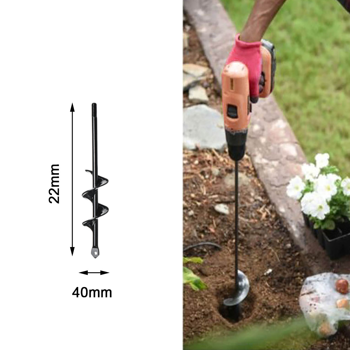 Tool - Earth Auger Hole Digger Tool Garden Planting Machine Drill Bit Fence Borer Post Hole Digger
