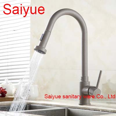 Pull Out White Marble Stone Polished 360 Degree Rotating Brass Swivel Kitchen Sink Mixer Tap Deck Mounted Cuisine Faucet<br><br>Aliexpress