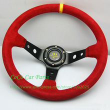 14 inch Racing Car Steering Wheel with Aluminum Red Suede 350mm Diameter Deep Dish For Racing Car Universal Fitment(China)